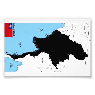 Myanmar country political map shape flag art photo