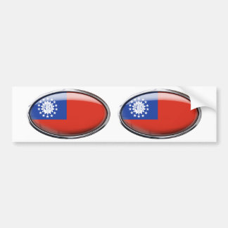 Myanmar Flag Glass Oval Bumper Sticker