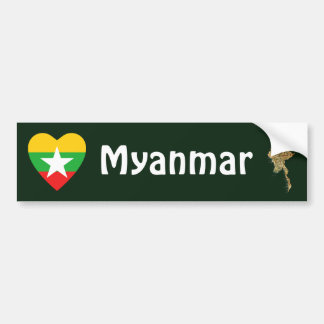 Myanmar Flag Heart + Map Bumper Sticker