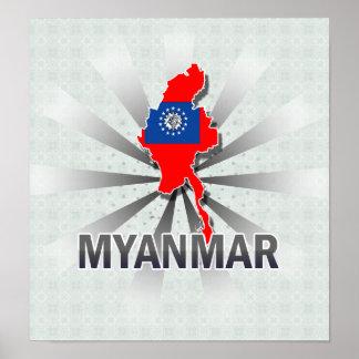 Myanmar Flag Map 2.0 Poster