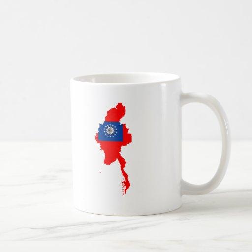 Myanmar flag map classic white coffee mug