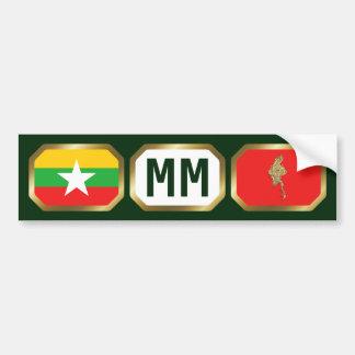 Myanmar Flag Map Code Bumper Sticker Car Bumper Sticker