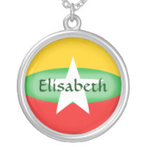 Myanmar Flag   Name Necklace