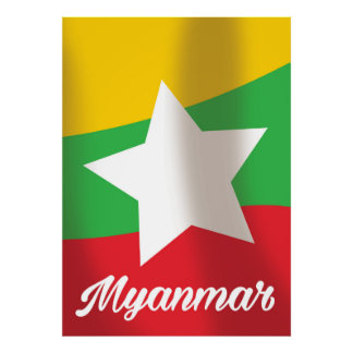 Myanmar Flag travel poster