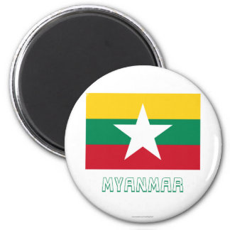 Myanmar Flag with Name 2 Inch Round Magnet