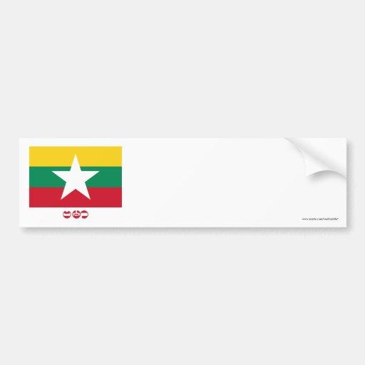 Myanmar Flag with Name BURMA in Burmese Bumper Sticker