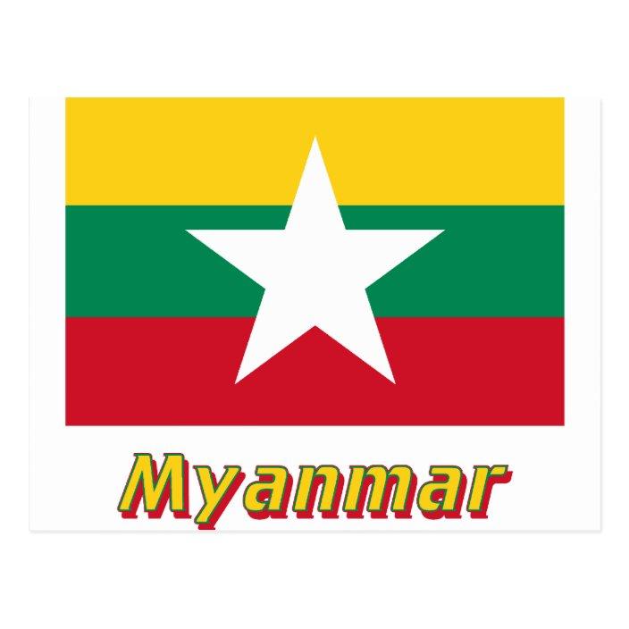 Myanmar Flag with Name Postcard | Zazzle.com