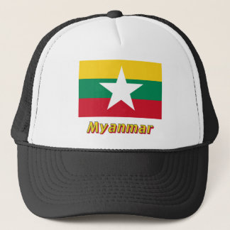 Myanmar Flag with Name  Trucker Hat