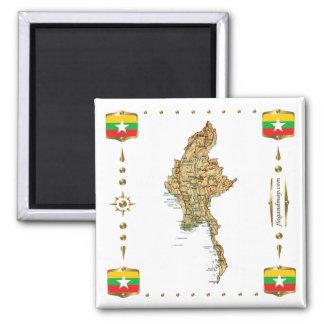 Myanmar Map + Flags Magnet