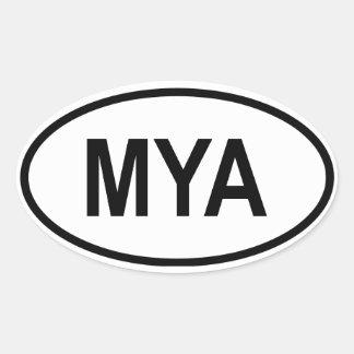 "Myanmar ""MYA"" Oval Sticker"