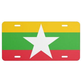 Myanmar National World Flag License Plate