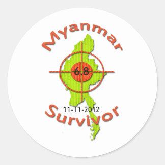 Myanmar Survivor 6.8 Earthquake 11-11-2012 Classic Round Sticker