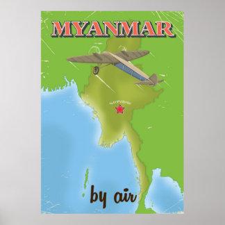 Myanmar vintage travel poster