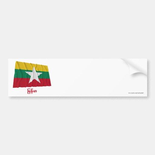 Myanmar Waving Flag with Name in Burmese Bumper Stickers