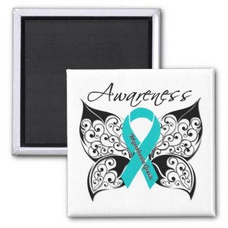Myasthenia Gravis Awareness Butterfly 2 Inch Square Magnet