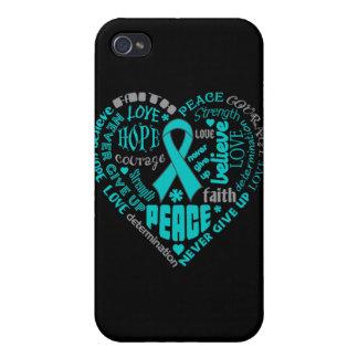 Myasthenia Gravis Awareness Heart Words iPhone 4 Covers