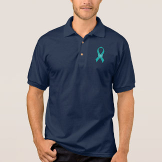 Myasthenia Gravis Awareness Ribbon with a Heart Polo Shirt
