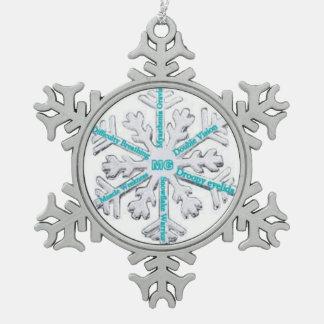 Myasthenia Gravis Awareness Teal PewterOrnament Snowflake Pewter Christmas Ornament