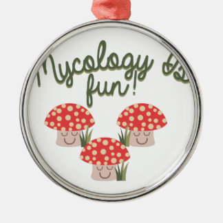 Mycology Is Fun! Round Metal Christmas Ornament