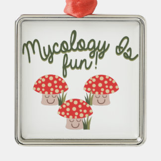 Mycology Is Fun! Square Metal Christmas Ornament