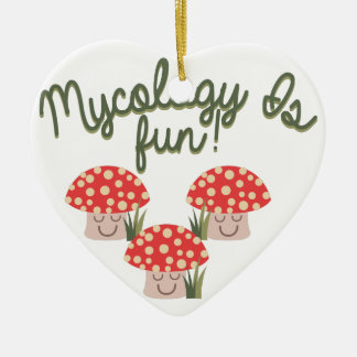 Mycology Is Fun! Double-Sided Heart Ceramic Christmas Ornament