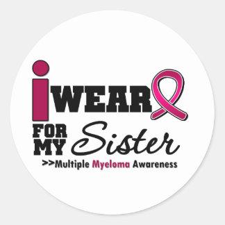Myeloma I Wear Burgundy Ribbon Sister Sticker