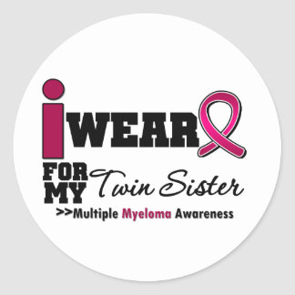 Myeloma I Wear Burgundy Ribbon Twin Sister Stickers