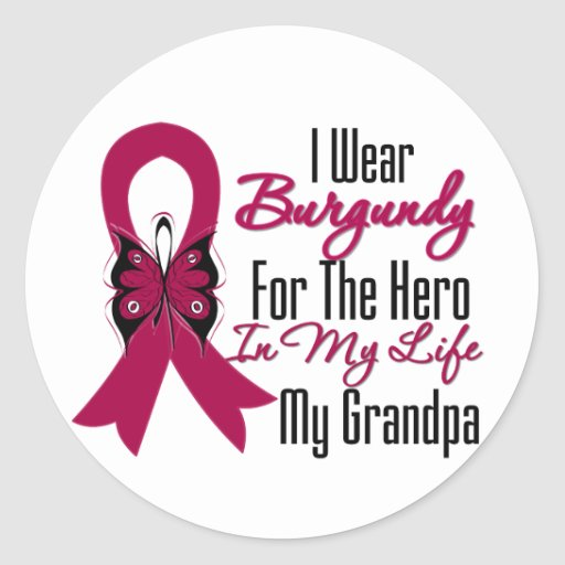 Myeloma Ribbon Hero My Grandpa Classic Round Sticker