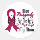 Myeloma Ribbon Hero My Mom Classic Round Sticker