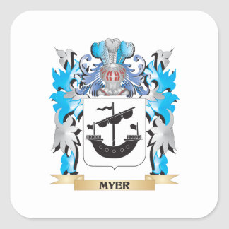 Myer Coat of Arms - Family Crest Square Sticker