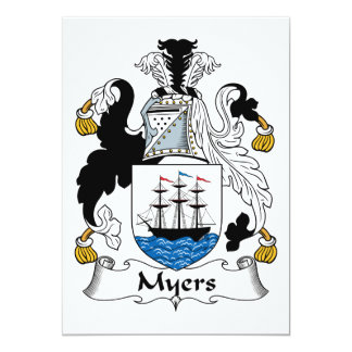 Myers Family Crest 5x7 Paper Invitation Card