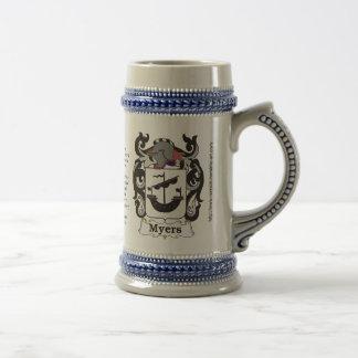 Myers Family Crest Stein Mug