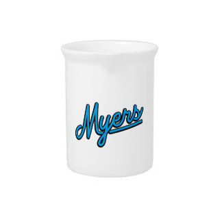 Myers in cyan beverage pitcher