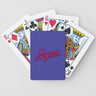 Myers in magenta bicycle playing cards