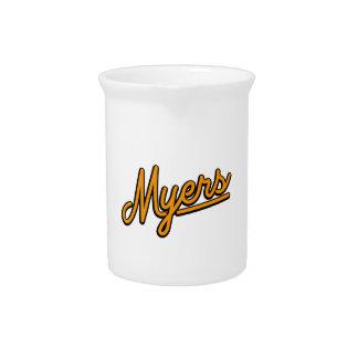 Myers in orange beverage pitcher