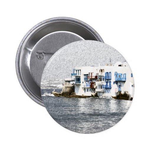 Mykonos, edificios de la costa de Grecia Pin Redondo 5 Cm