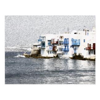 Mykonos, edificios de la costa de Grecia Tarjetas Postales