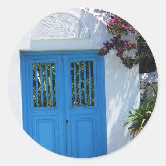 Mykonos, Grecia Etiqueta Redonda