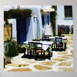 Mykonos, Greece, Greek islands, Cafe Poster