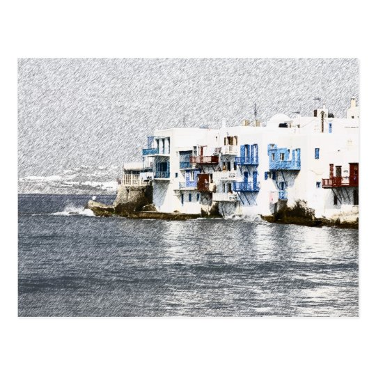 Mykonos, Greece waterfront buildings Postcard
