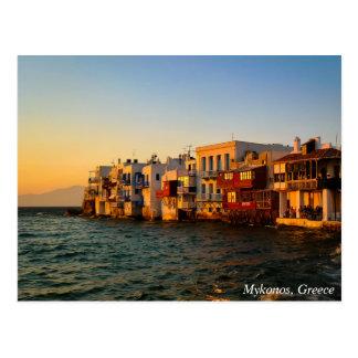 Mykonos Little Venice Quater Sunset, Greece Postcard