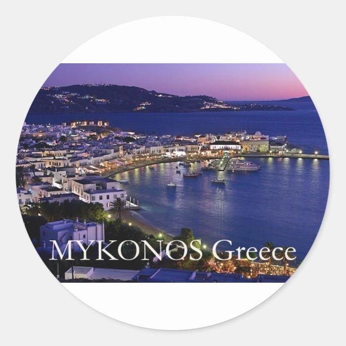 mykonos_night classic round sticker