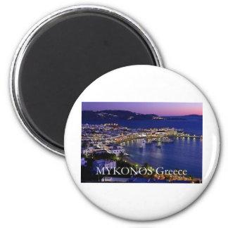 mykonos_night 2 inch round magnet