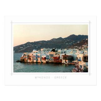 Mykonos - puesta del sol en poca postal de Venecia