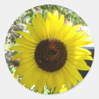 Mykonos Sunflower Classic Round Sticker