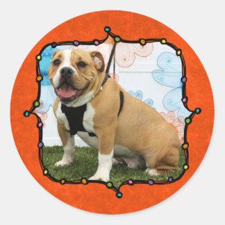 Mylo - English Bulldog Round Sticker