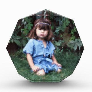 Mylune sitting in the grass acrylic award