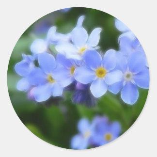 Myosotis sylvatica - Forget Me Nots Round Stickers