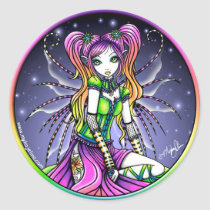 rainbow, celestial, stars, myra, lilly, tattoo, fairy, magic, magical, pigtails, pink, cute, adorable, fantasy, art, fine, gothic, myka, jelina, characters, Sticker with custom graphic design