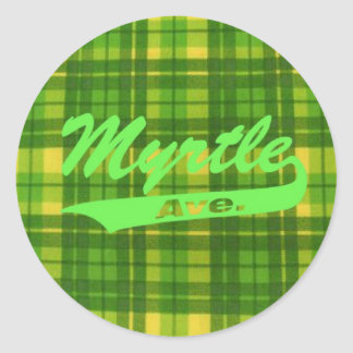 MYRTLE AVE PLAID STICKER